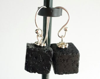 Black Lava Earrings - Cube Earrings - Dice Earrings - Black Earrings