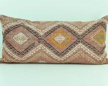 Vintage Living Room Decor Kilim Pillow Cover- Throw Pillows -12x24 inch Wool Cushions  lkp11-06