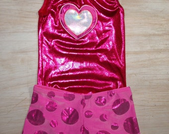 Heart embroidered leotard with shorts