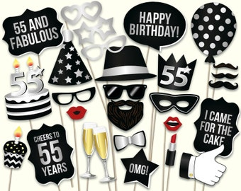 55th birthday photo booth props: printable PDF. 55th birthday party props. Turning 55 Black and silver 55th birthday ideas. 55 years old