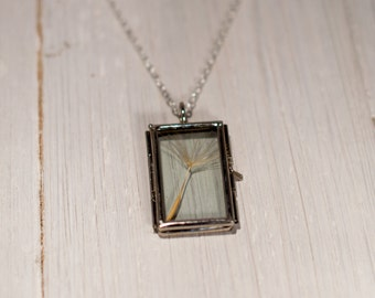 Vintage style Glass Locket Necklace, long pendant Locket Necklace