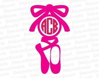 Ballet SVG, Ballet Shoe Monogram SVG, Ballet Svg Files, Ballerina SVG Files, Ballet Monogram Cut File, for Cricut Machine Instant Download