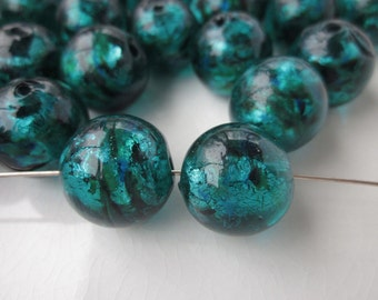 6 Vintage Murano Venetian Glass Beads, Blue-Green, 16mm Round