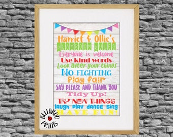 Playroom Rules Print ~ Art Print ~ Personalised Print ~ Nursery Wall Art ~ Child's Bedroom Wall Art