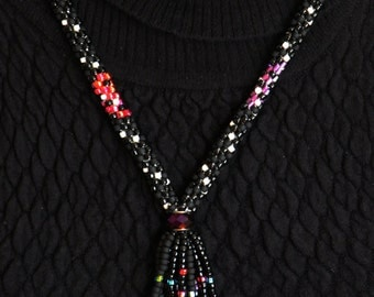 Gorgeous Kumihimo Fringe Necklace - Black with Neon Accents