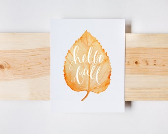 Hello Fall, Fall Print, Autumn Print, Calligraphy, Fall Decor, Watercolor, INSTANT DOWNLOAD