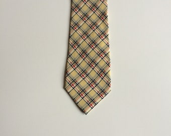 Vintage Fumagalli Tie/ Made in Italy/ Narrow Yellow Tie with Blue and Red Stripe