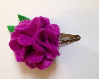 Felt flower hair clip purple flower hair clip toddler kids children's girls teens hair clip hair accessories