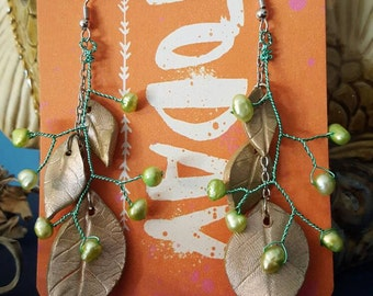 Beautiful and Fun Polymer Clay Leafy Earrings with Fresh Water Pearls