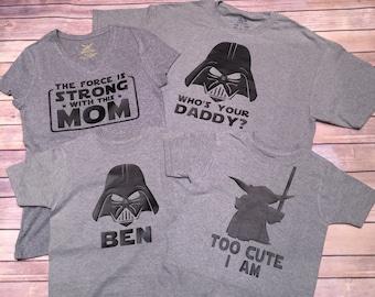 Star Wars Family Shirts, Darth Shirt, Princess Leia Shirt, Star Wars Onesie | Star Wars Baby Shirt | Star Wars Kid Shirt | Starwars Shirt
