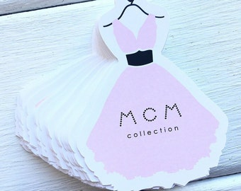 Paper Tags - Personalized Tags - Dress Shaped Tags - Paper Labels - Custom Tags - Medium Tags - Hang Paper Tags - Small Paper Tags