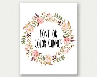 Font or Color Change