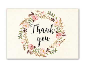 Thank you Card, Floral Thank You Card, Wedding Thank You Cards, Boho Chic Thank You Card, Thank You Note, Floral Thank You Card, Digital