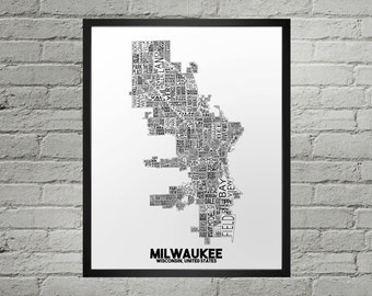 Milwaukee Wisconsin Neighborhood Typography City Map Print