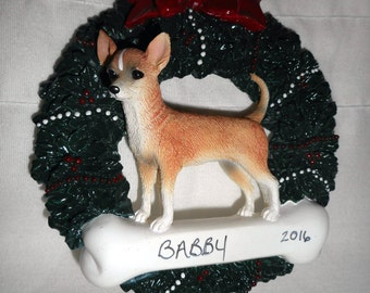 Chihuahua Wreath Personalized Christmas Ornament
