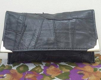Vintage Black Patchwork Clutch Bag