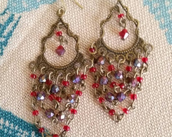 Antiqued Gold Tone Chandelier Earrings with Red and Purple Beads