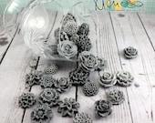 Cabochon flowers, Scrapbooking embellishments, Card making, Invitations