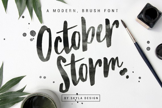 Modern brush font october storm handwritten script