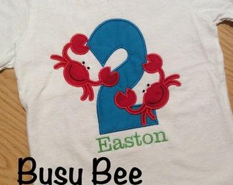 Appliqued Crab Birthday Shirt