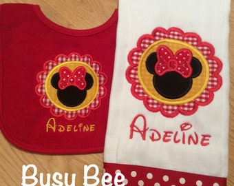 Appliqued Scalloped Minnie Burp Cloth and Bib Set