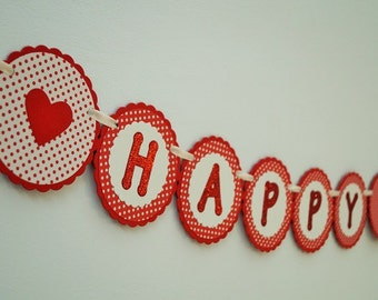 Banner - red banner, heart and polka dots banner with glitter letters, birthday banner