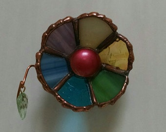 3-D Stained Glass Flower w/Suction Cup