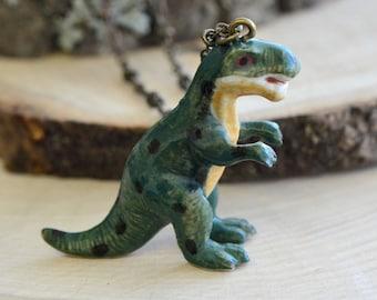 Hand Painted Porcelain T-Rex Necklace, Antique Bronze Chain, Vintage Style Dinosaur, Ceramic Animal Pendant & Chain (CA045)