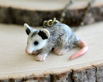 Hand Painted Porcelain Possum Necklace, Antique Bronze Chain, Vintage Style Marsupial, Ceramic Animal Pendant & Chain (CA025)