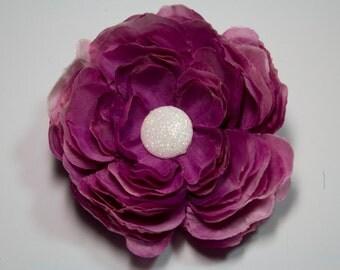 Magenta Flower Clip - Hair Accessory - Brooch