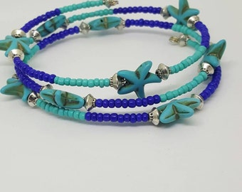 Beach bracelet, Turquoise bracelet, Starfish bracelet, One size fits all, Gifts for her, Birthday gift
