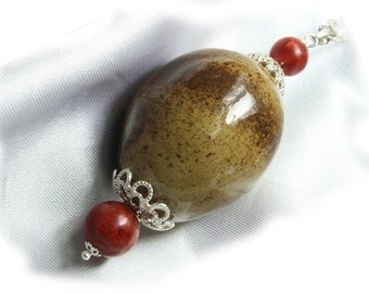 Collar quail egg natural with red Jasper or aventurine and sterling silver Pearl