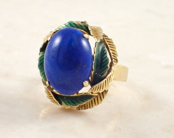 14K Yellow Gold Lapiz and Enamel Ring
