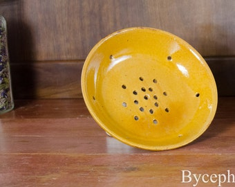 French Provence Antique Colander Strainer Bowl Yellow Glazed Terracotta 19th century