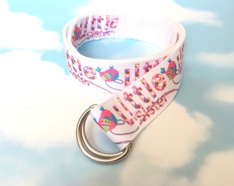 Childs Belt - Girls Belt - Toddler Belt - Little Sister Belt - Ribbon Belt - White Belt - Little Sister Gift - Age 1-3