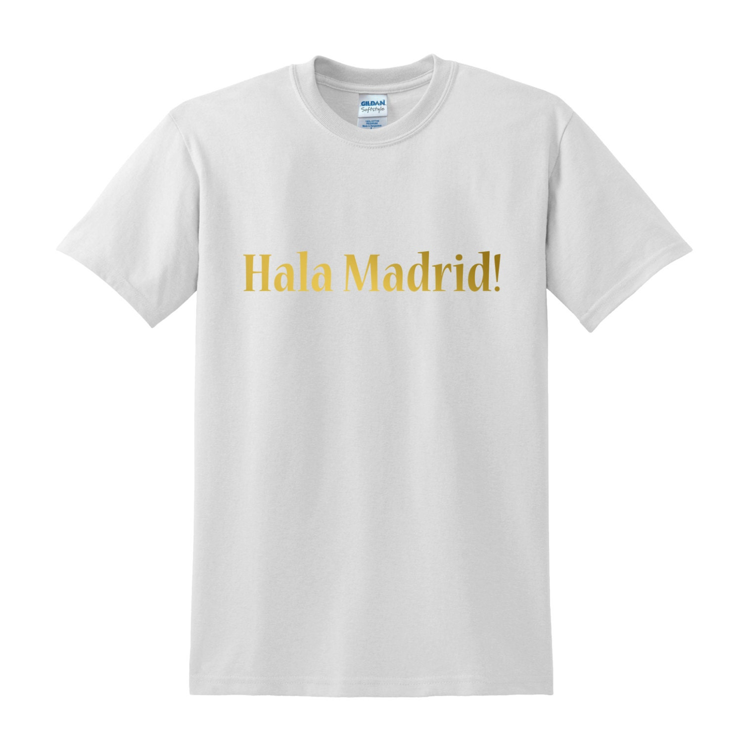 Hala Madrid Gold Print Slogan T Shirt Menswear By