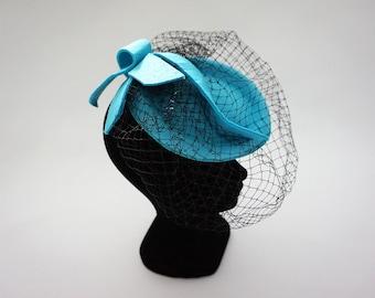 Cap aquamarine veiled headdress