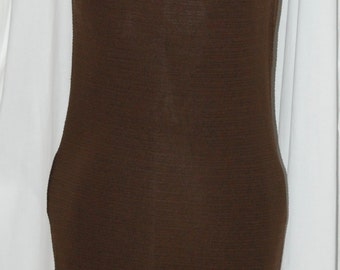 vintage 60s dress, mod body con, ilene ricky, chocolate brown, sleeveless knit
