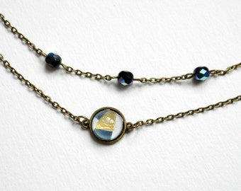 Bracelet 2 rows in bronze, cabochon and beads of Bohemian black with a blue Sheen