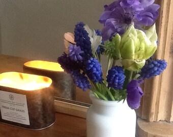 White Glass Jar/Flower Vase