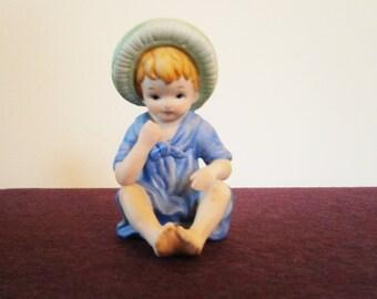 Little Boy Blue Figurine Porcelain Vintage Barefoot Hat ARNART