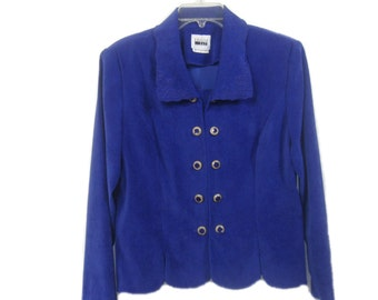 Vintage Leslie Fay Women's Blazer Career Jacket Double Button Size 14 Shoulder Pads