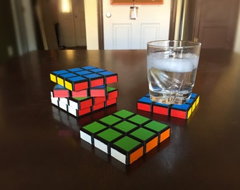 Rubik's Cube Coasters Set of 6- Stackable- 3D Printed