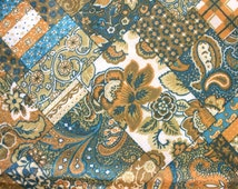 Vintage Faux Suede Fabric Remnant - 1970s Paisley & Floral Print Faux Suede Material - JCPenney Tagged Fabric - 1 yd