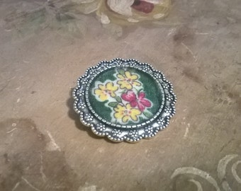 Yellow and Pink Flowered Handkerchief Brooch
