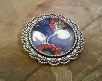 Blue and Red Flower Vintage Handkerchief Brooch