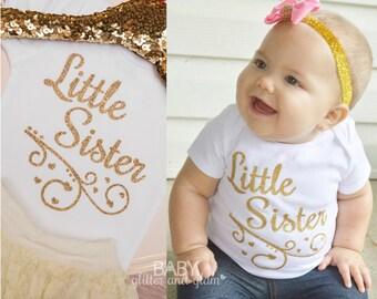 Little Sister Bodysuit, Little Sister Big Sister, Big Sis Little Sis, Baby Girl Shirt, Little Sis Sparkle Shirt
