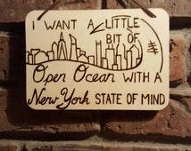 Fly Away // 5 Seconds of Summer // 5SOS Lyrics // Travel // Ocean // New York City // Wood Burned Sign // Custom Stain