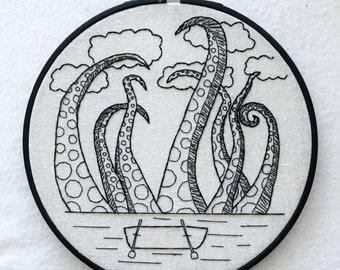 Gothic Kraken Hand Embroidery Hoop Art