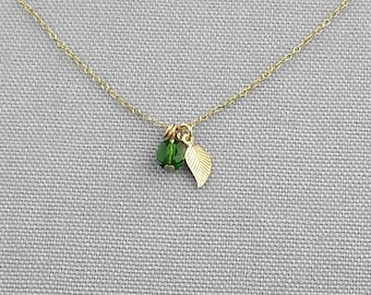 Personalized Gold Leaf Charm Necklace, Birthstone Necklace